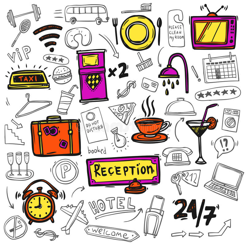 Hotel service icons doodle sketch royalty free illustration