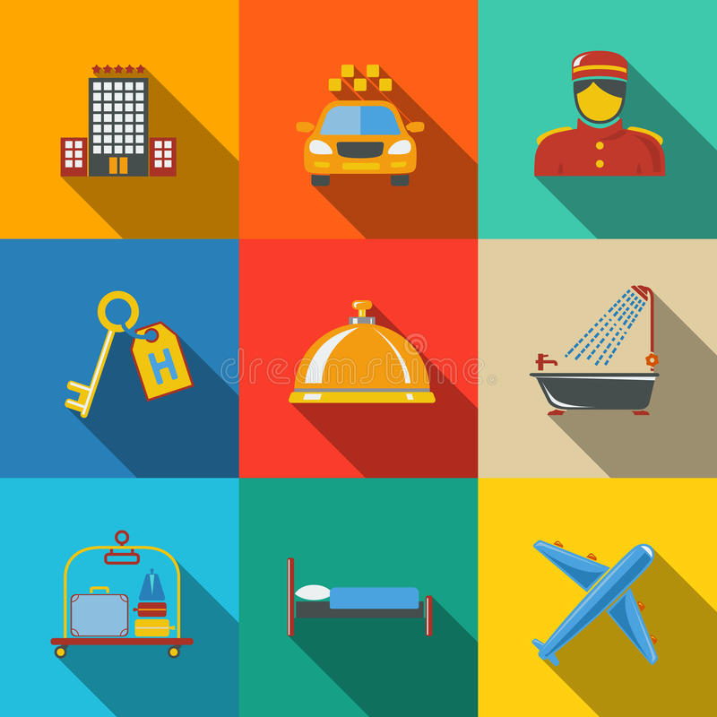 Hotel and service modern flat icons set on color vector illustration