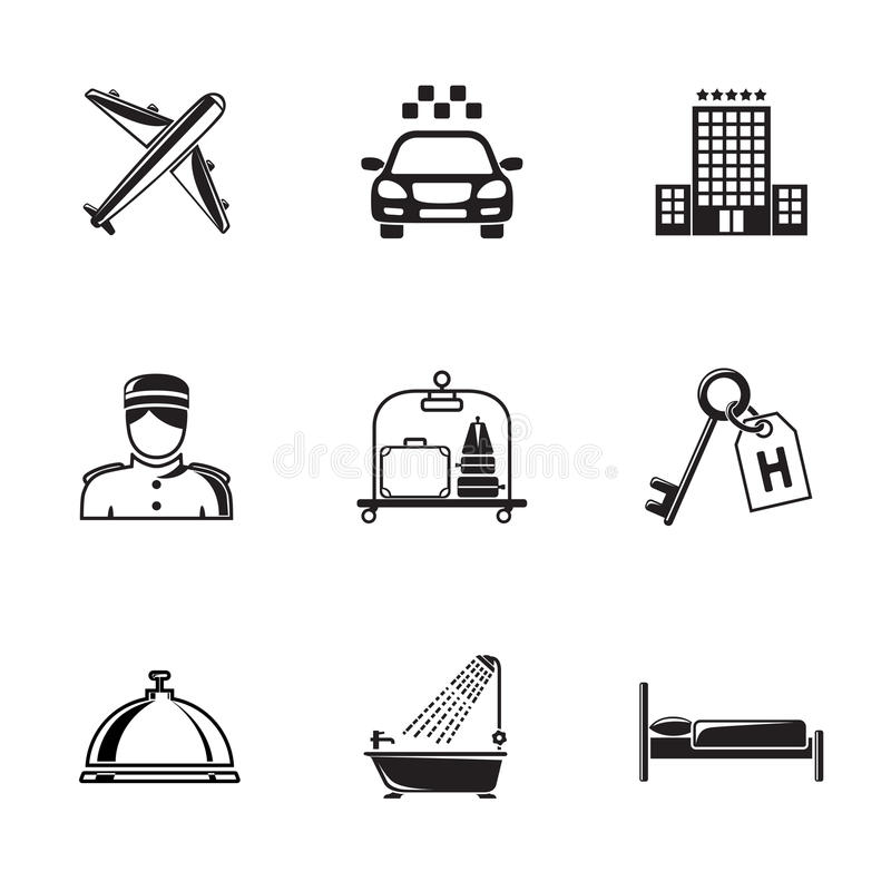 Hotel and service monochrome black icons set with. Hotel building, service bell, bed, luggage, porter, room key, taxi cab, airplane, bathroom with shower royalty free illustration