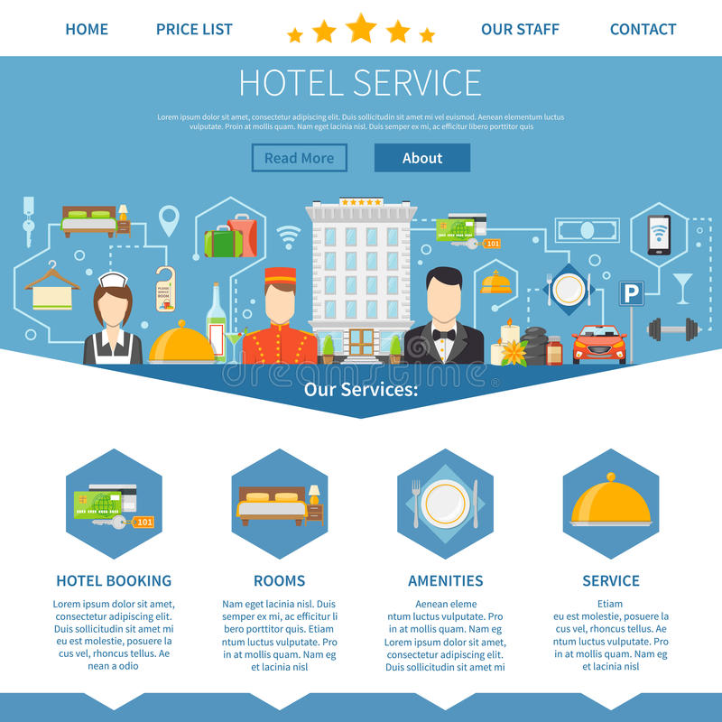 Hotel service page design stock vector illustration of for Designhotel maastricht comfort xl