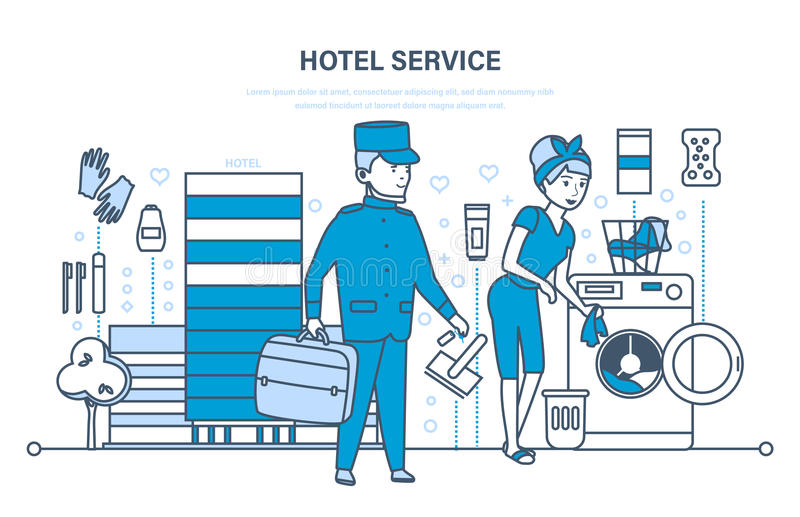 Hotel services, cityscape and the environment, staff, meeting, service. stock illustration