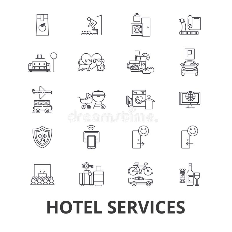 Hotel services related icons vector illustration