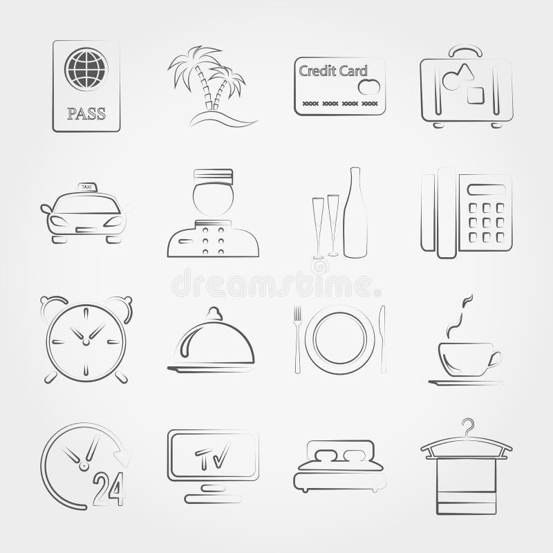 Hotel, servicio y vacaciones ilustración del vector