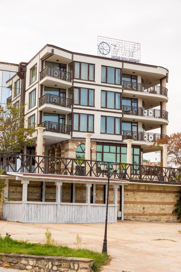 Hotel on the shore of the Black Sea in Bulgaria, Nesebar stock images