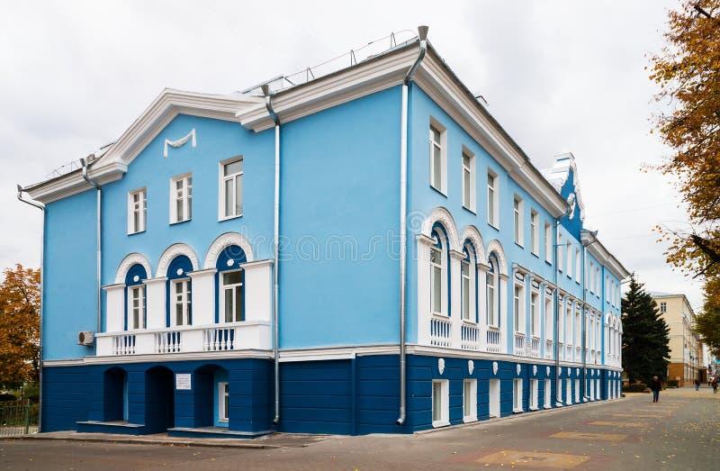 Hotel Shvanvich en Voronezh, conocido como la casa con los leones, en t imagen de archivo