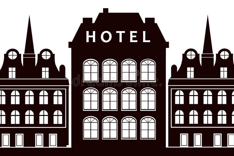 Hotel sign. Old fashioned hotel with hotel sign royalty free illustration