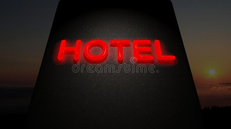 Hotel sign. Whit sunset on the background stock illustration