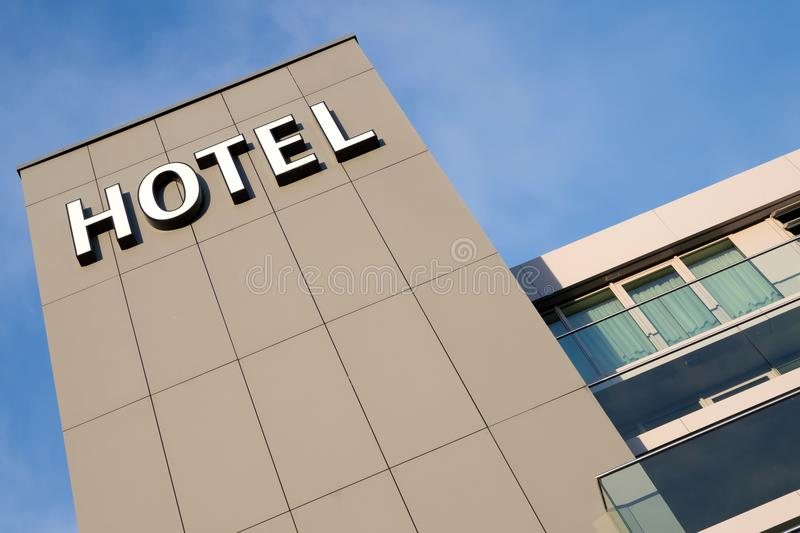 Hotel. Sign against blue sky royalty free stock photography