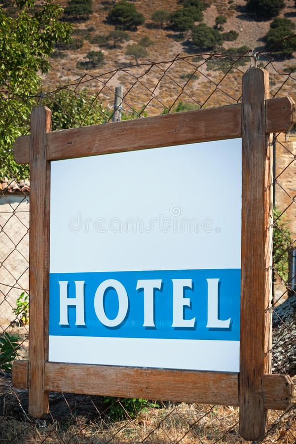 Hotel Sign Board, Outdoor Shot. By daylight. Wooden Board stock images