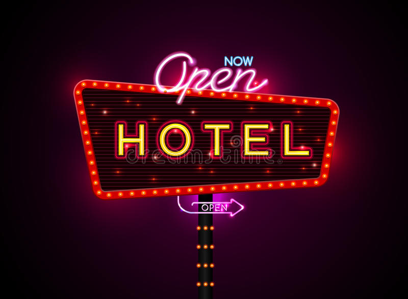 Hotel sign buib and neon vector illustration