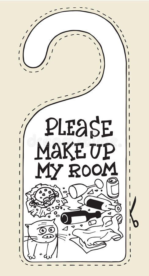 Hotel sign cat please make up my room. Humor room royalty free illustration