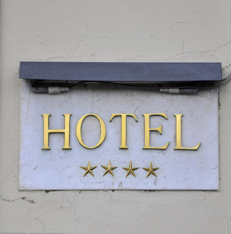 Hotel Sign: Four Star Hotel In Italy Stock Photos