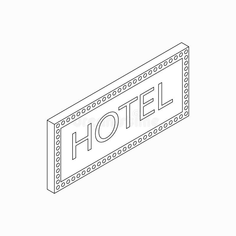 Hotel sign icon, isometric 3d style stock illustration
