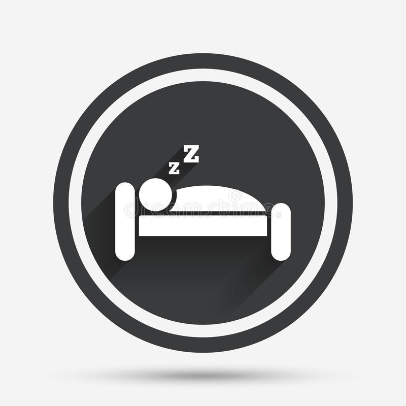 Hotel sign icon. Rest place. Sleeper symbol. Hotel apartment sign icon. Travel rest place. Sleeper symbol. Circle flat button with shadow and border. Vector royalty free illustration