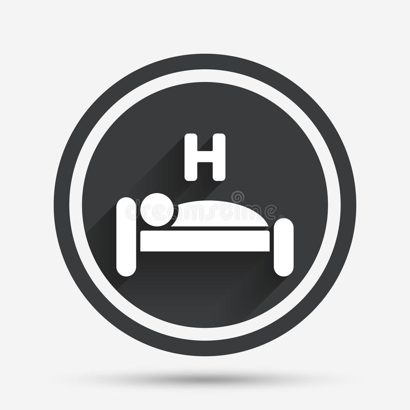 Hotel sign icon. Rest place. Sleeper symbol. Hotel apartment sign icon. Travel rest place. Sleeper symbol. Circle flat button with shadow and border. Vector stock illustration