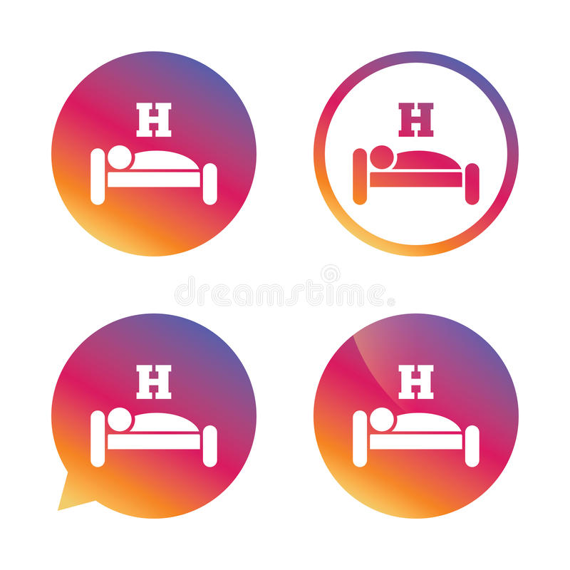 Hotel sign icon. Rest place. Sleeper symbol. Hotel apartment sign icon. Travel rest place. Sleeper symbol. Gradient buttons with flat icon. Speech bubble sign stock illustration