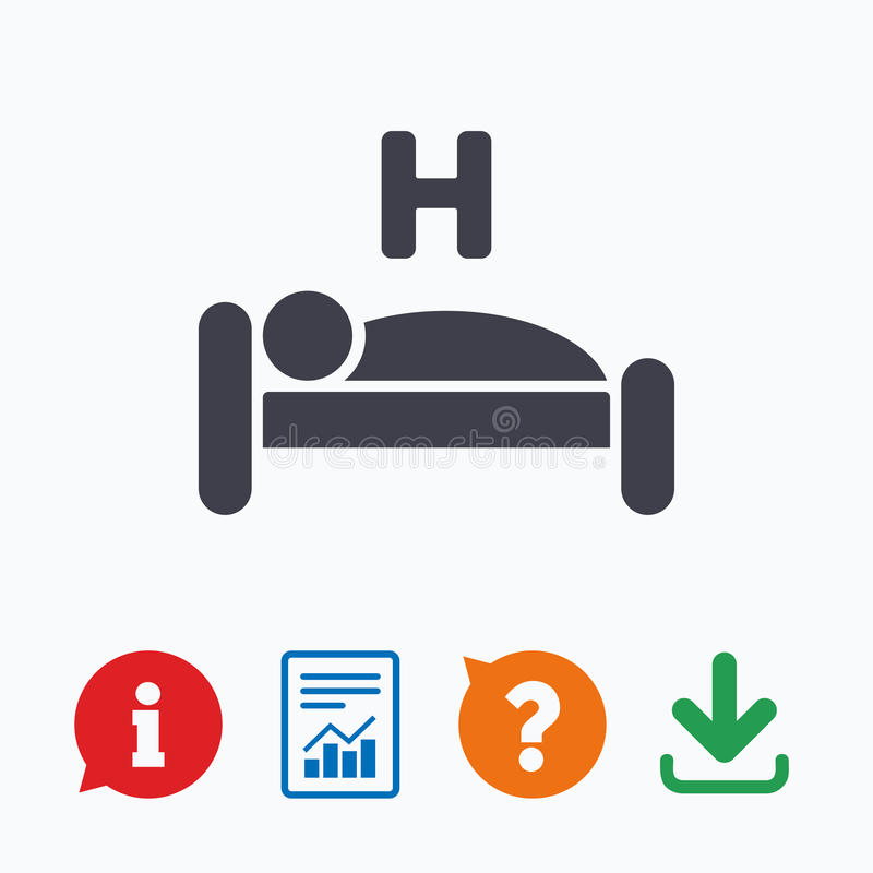 Hotel sign icon. Rest place. Sleeper symbol. Hotel apartment sign icon. Travel rest place. Sleeper symbol. Information think bubble, question mark, download and royalty free illustration