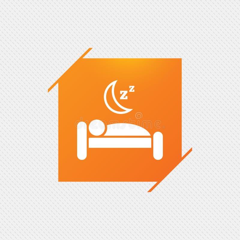 Hotel sign icon. Rest place. Sleeper symbol. Hotel apartment sign icon. Travel rest place. Sleeper symbol. Orange square label on pattern. Vector royalty free illustration