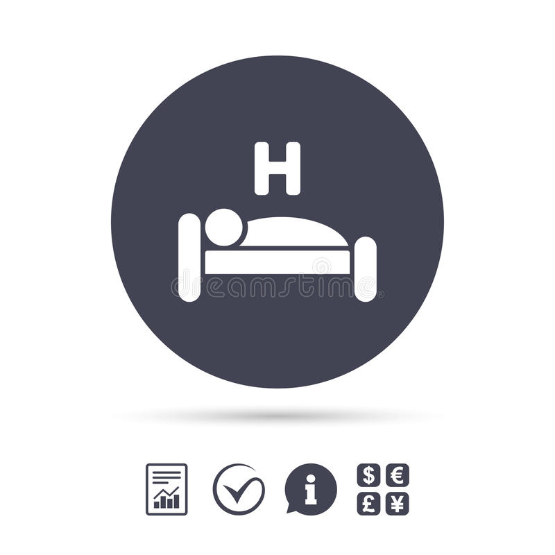 Hotel sign icon. Rest place. Sleeper symbol. Hotel apartment sign icon. Travel rest place. Sleeper symbol. Report document, information and check tick icons vector illustration