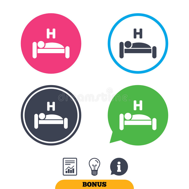 Hotel sign icon. Rest place. Sleeper symbol. Hotel apartment sign icon. Travel rest place. Sleeper symbol. Report document, information sign and light bulb royalty free illustration