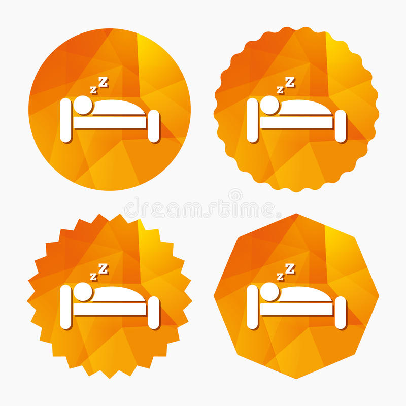 Hotel sign icon. Rest place. Sleeper symbol. Hotel apartment sign icon. Travel rest place. Sleeper symbol. Triangular low poly buttons with flat icon. Vector stock illustration