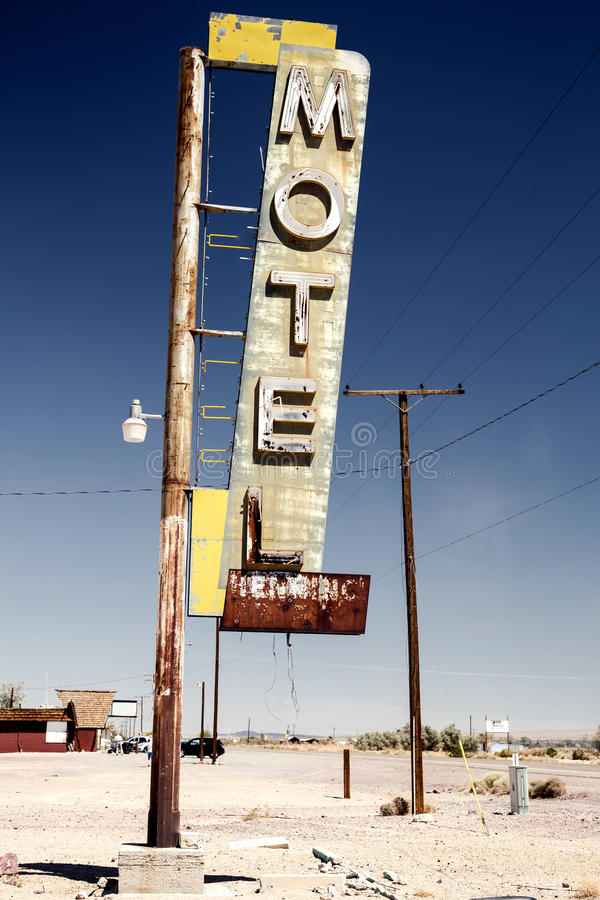 Free Hotel Sign Ruin Along Historic Route 66 Stock Photography - 37490142