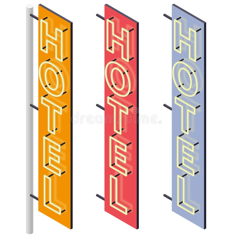 Hotel signboard. Neon outdoor advertising on motel facade in three color variants. royalty free illustration