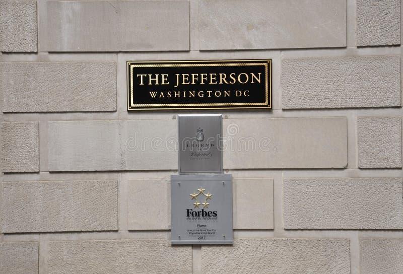 Washington DC, July 4th 2017: Hotel Signboard from Washington District of Columbia USA royalty free stock photo