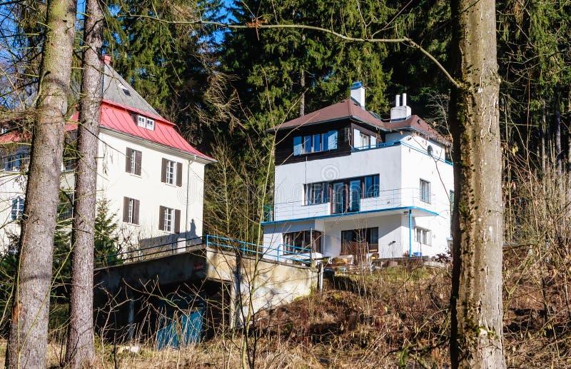 Hotel in small west Bohemian spa town Marianske Lazne Marienba. D in winter - Czech Republic royalty free stock photos