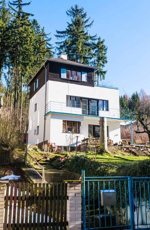 Hotel in small west Bohemian spa town Marianske Lazne Marienba. D in winter - Czech Republic stock image