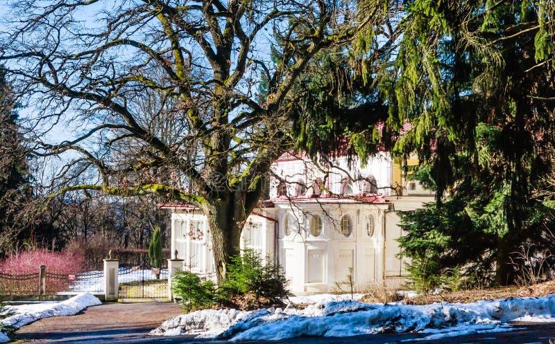 Hotel in small west Bohemian spa town Marianske Lazne Marienba. D in winter - Czech Republic stock photo