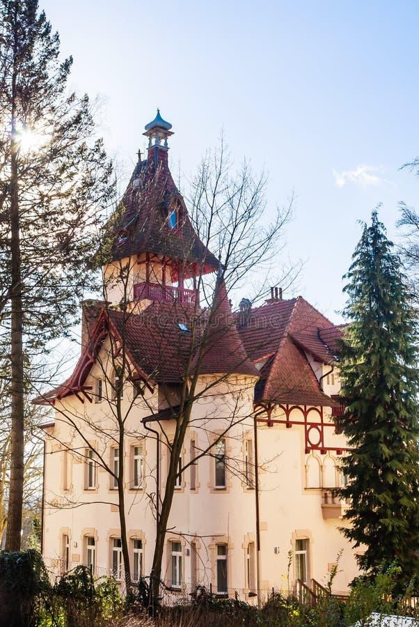 Hotel in small west Bohemian spa town Marianske Lazne Marienba. D in winter - Czech Republic stock photography