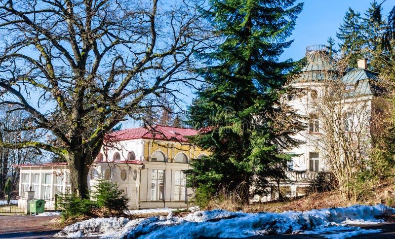 Hotel in small west Bohemian spa town Marianske Lazne Marienba. D in winter - Czech Republic royalty free stock images