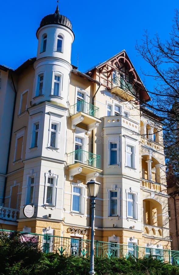 Hotel in small west Bohemian spa town Marianske Lazne Marienba. D in winter - Czech Republic stock images