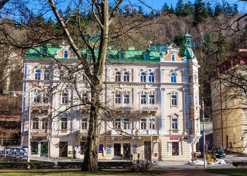 Hotel in small west Bohemian spa town Marianske Lazne Marienba. D in winter - Czech Republic royalty free stock photo