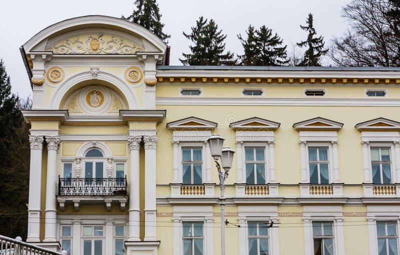 Hotel in small west Bohemian spa town Marianske Lazne Marienba. D in winter - Czech Republic stock photos
