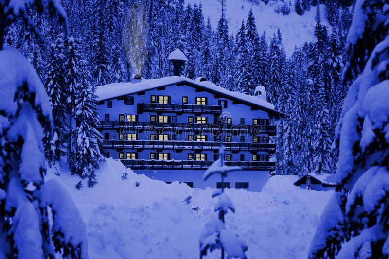 Download Hotel in snow stock photo. Image of weekend, lodge, evening - 4263916