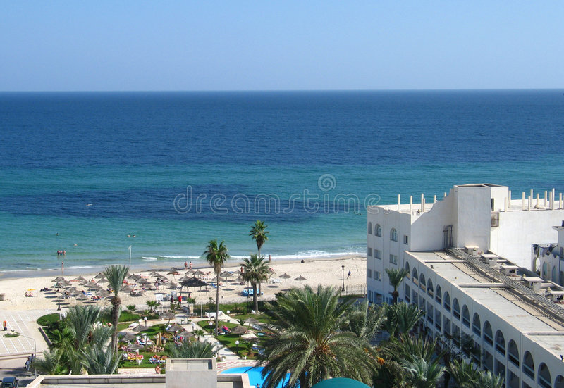 Hotel in Sousse stock afbeelding
