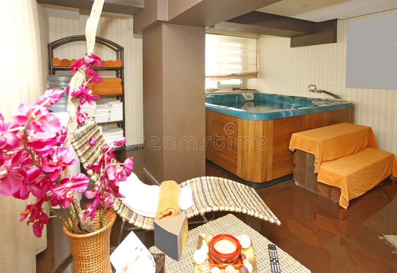Hotel spa. Comfortable empty spa room with jacuzzi in an hotel royalty free stock image