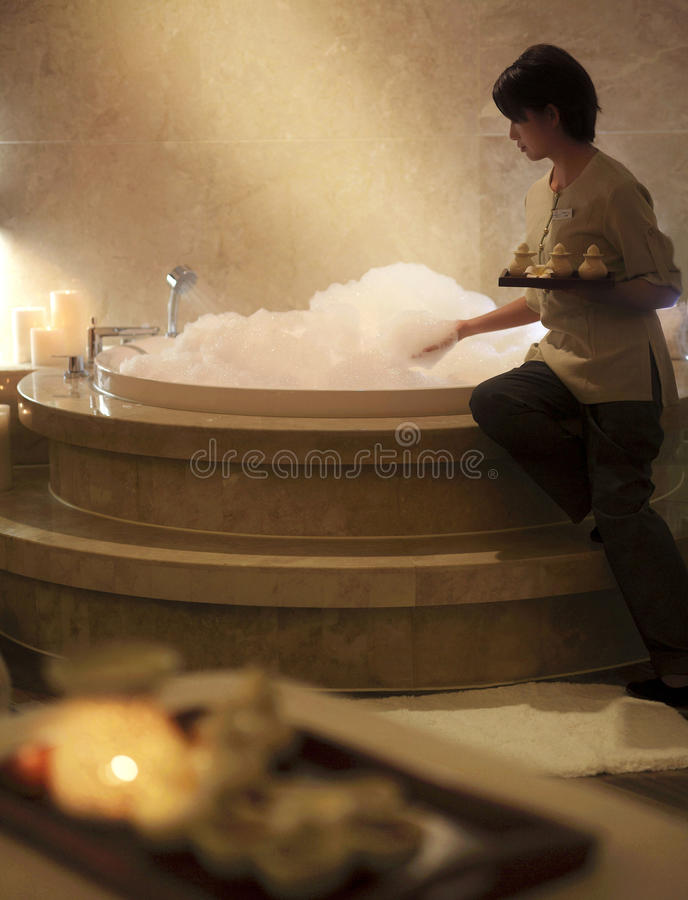 The hotel SPA SPA. Hot spring pool,Health campaign,candlelight,romantic,enjoy,Rose bath, The seaside resort SPA,The hotel SPA royalty free stock photo