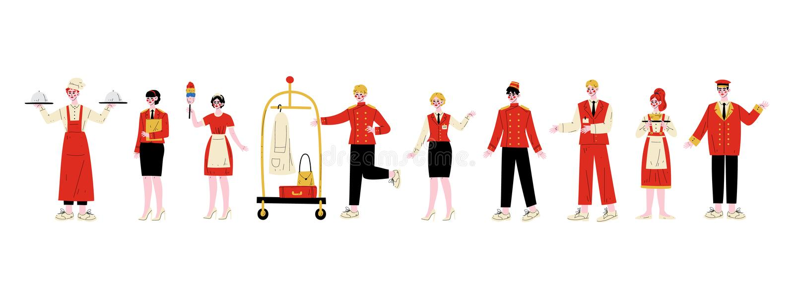 Hotel Staff Characters Set, Chef, Manager, Maid, Bellhop, Receptionist, Concierge, Waitress, Doorman in Red Uniform. Vector Illustration on White Background royalty free illustration