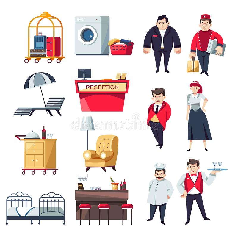Hotel staff and furniture restaurant and rooms isolated objects and characters. Restaurant and hotel staff and furniture vector reception desk and receptionist royalty free illustration