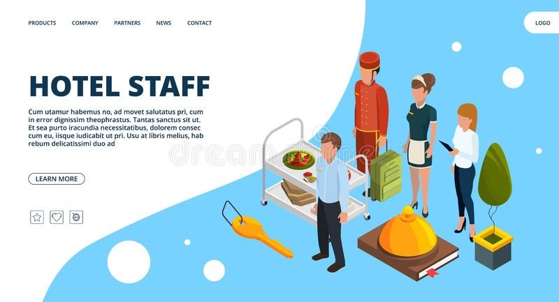 Hotel staff landing page. Vector isometric hospitality concept stock illustration