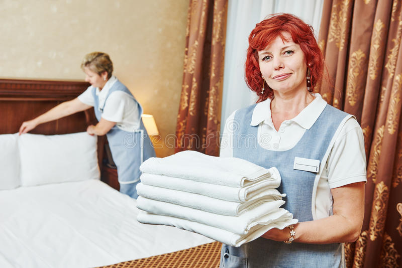 Hotel Staff At Room Cleaning And Housekeeping Stock Photo ...