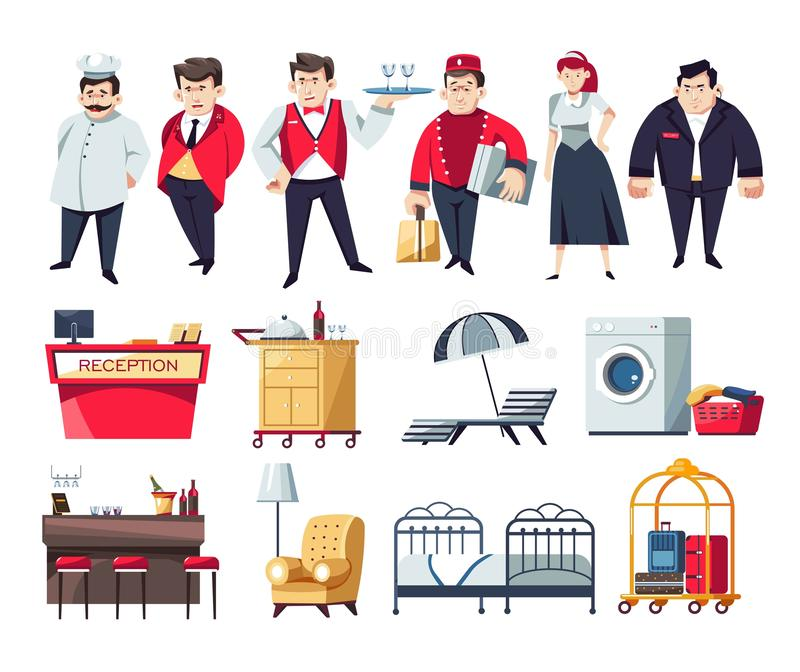 Hotel staff and services furniture and objects. Restaurant and hotel staff and furniture vector reception desk and receptionist chef and waiter tray and recliner stock illustration