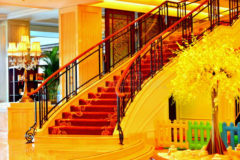 Hotel stairs. Luxury hotel stairs in lobby stock image