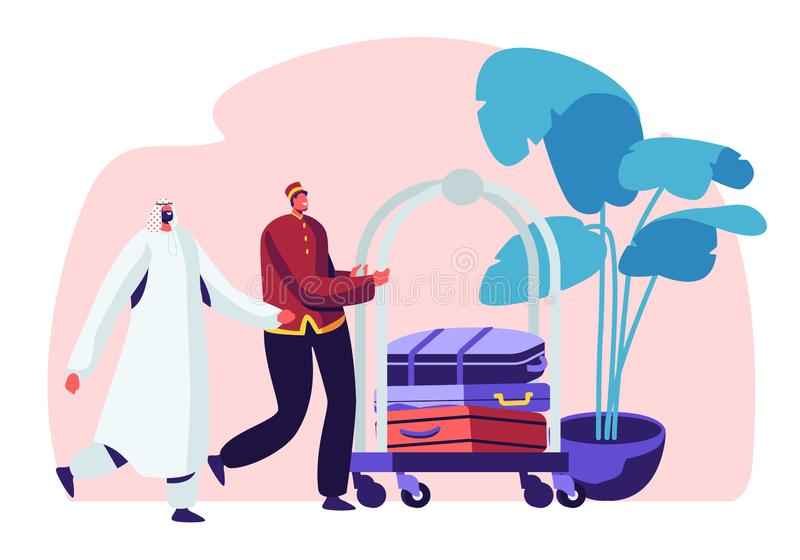 Hotel Stuff Meeting Arabic Guest in Hall Carrying Luggage by Cart. Muslim Businessman Stay in Guesthouse for Vacation stock illustration