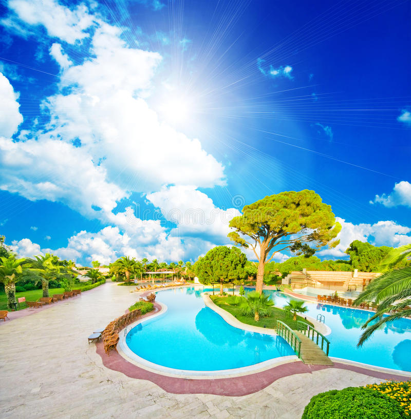 hotel with a swimming pool royalty free stock image