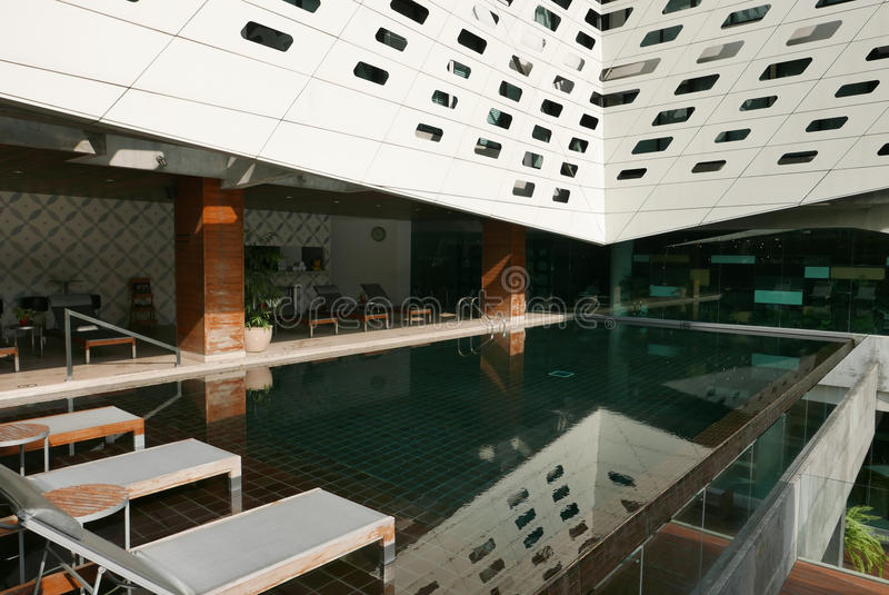 Download Hotel Swimming Pool With Reflection Suntan Chair Stock Photo    Image Of City, Suntan