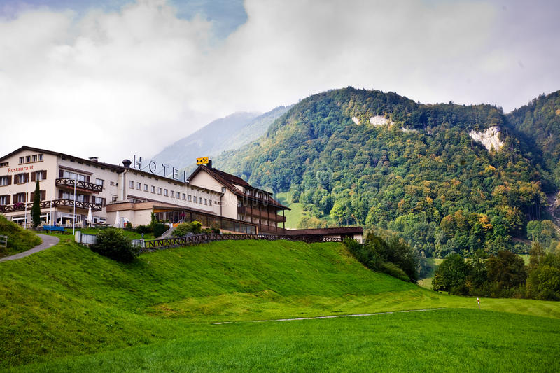 Hotel In Swiss Alps Royalty Free Stock Images